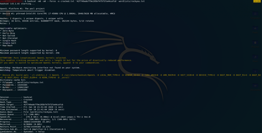Hashcat Results - Password Cracked