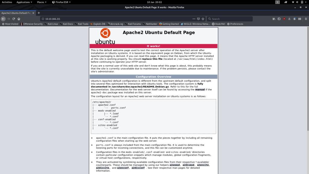 Default Apache Splashscreen for Webserver running on Port 80