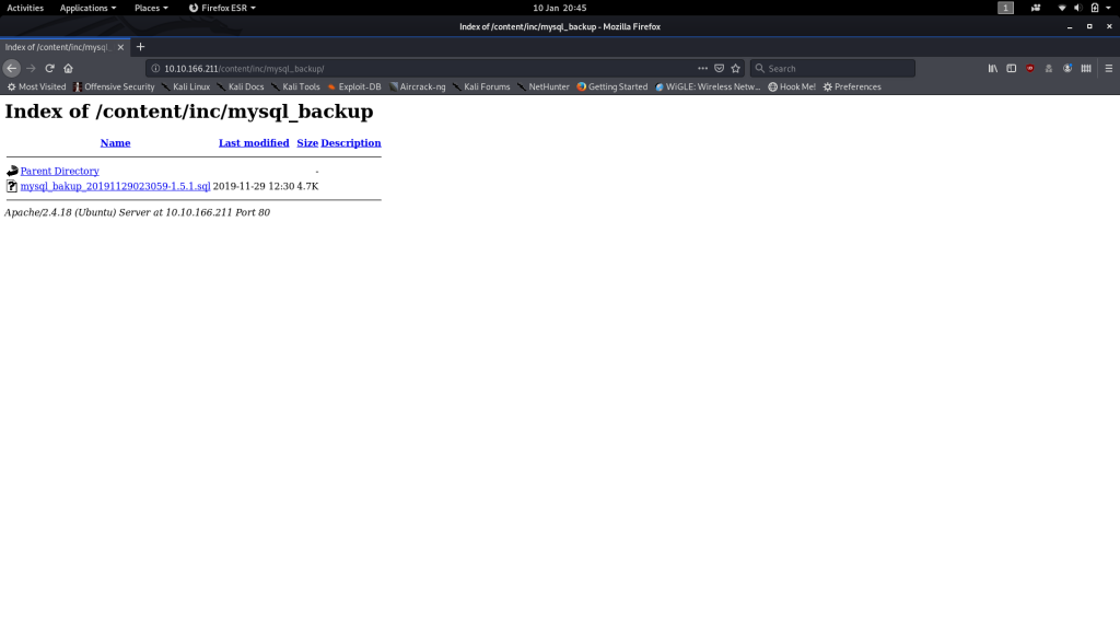MySQL Backup file