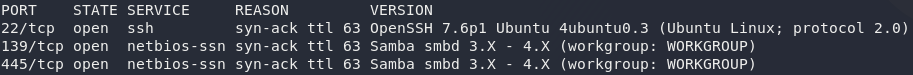 nmap scan showing open ports