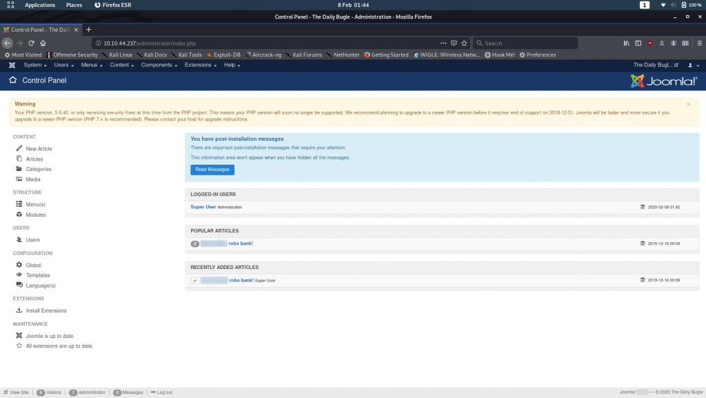 Joomla CMS Management Screen