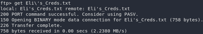 Downloading Eli's_Creds.txt from the FTP Server