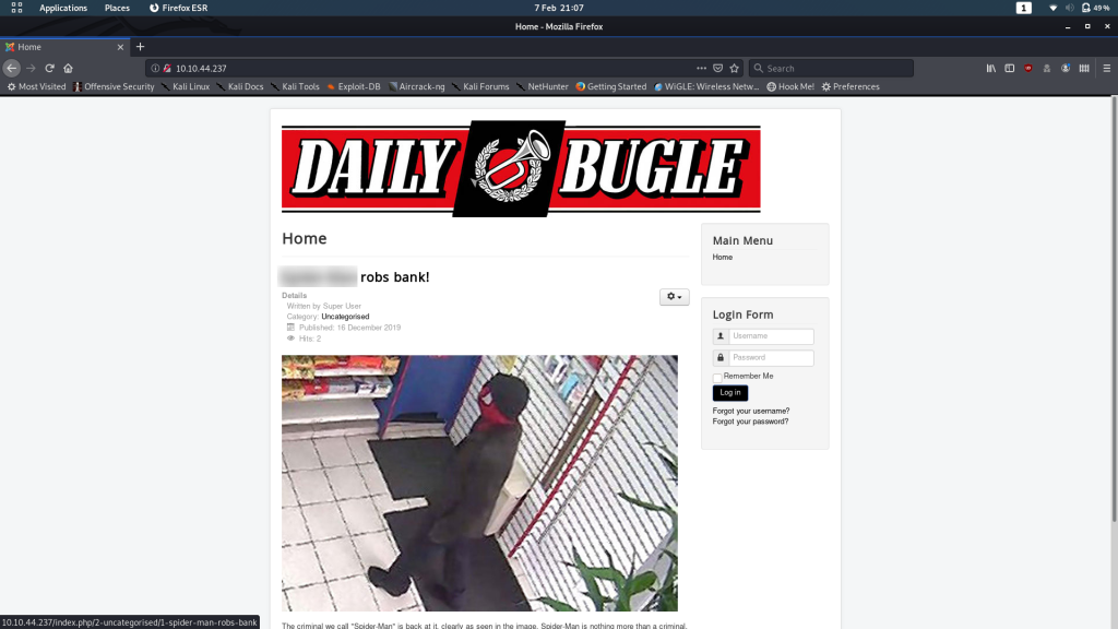 Home page of the Daily Bugle website