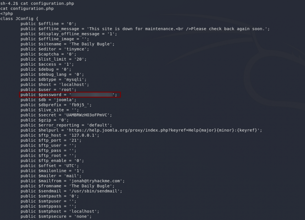 Showing the password variable in the configuration.php file