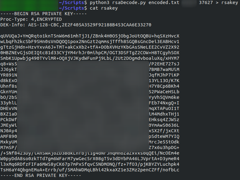 Program successfully extracted the ssh key