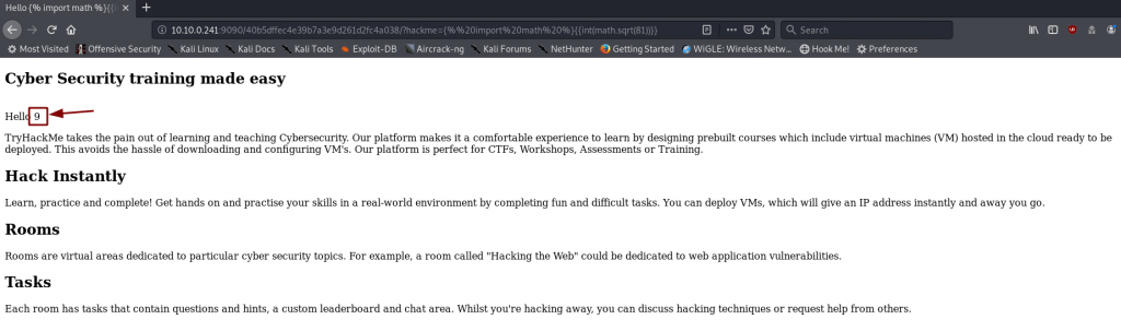 Proof of Concept -- the website is vulnerable to SSTI