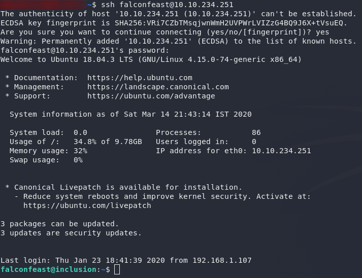 Successful login over SSH as falconfeast