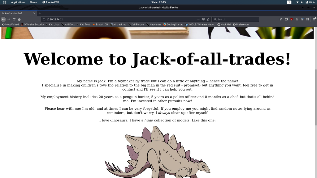Homepage of the website