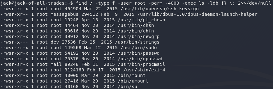 List of root owned binaries with SUID set