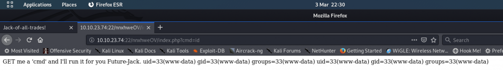 Successfully injected the id command via the cmd parameter of the URL