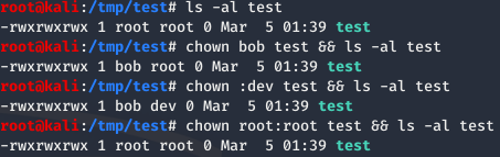 Demonstrating the chown command in Linux