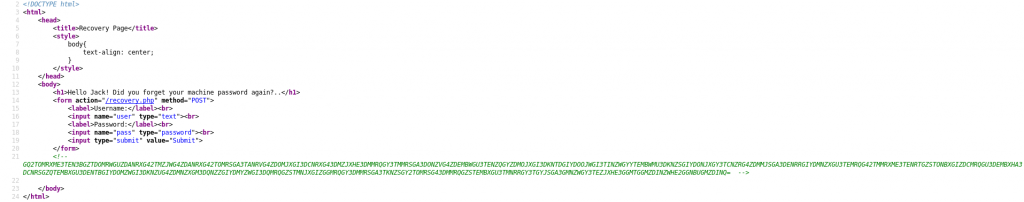 Source code for the recovery page of the Jack-of-All-Trades website