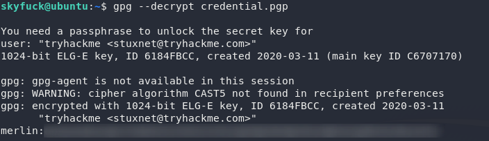 Successfully decrypted the key using the password obtained with JTR