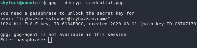 Turns out that a password is required in order to use the key we imported