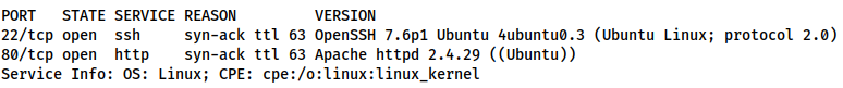 Service scan revealing OpenSSH and Apache HTTP Servers
