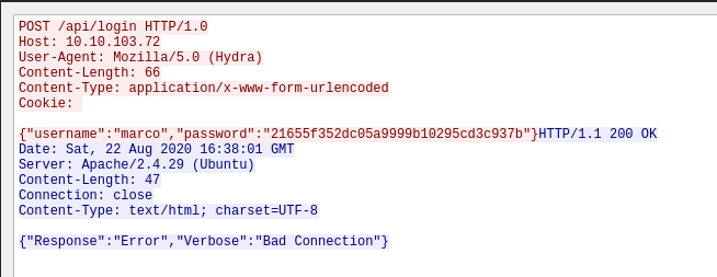 Following one of the HTTP streams from Hydra attacking the server