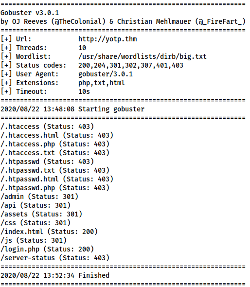 Full results of the Gobuster scan -- relevant entries shown in the codeblocks below