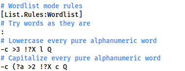 Screenshot showing the John the Ripper Wordlist rules we're using -- trying words as they are, lowercasing every pure alphanumeric word and capitalising every alphanumeric word