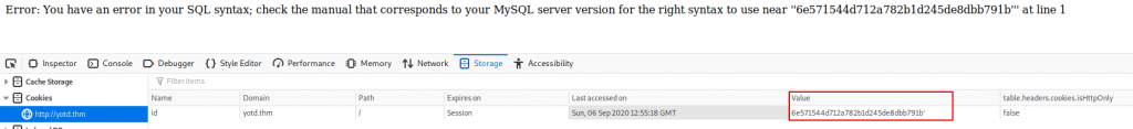 """Screenshot showing that the cookie """"id"""" is vulnerable to SQLi."""