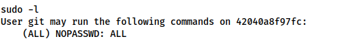 Screenshot showing that the git user can use any command as sudo