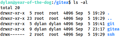 Screenshot showing the permissions settings for the /gitea directory. Dylan owns the git and gitea subdirectories