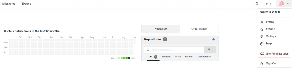 Screenshot showing our newly created admin user