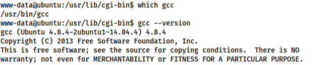 Above commands demonstrate that GCC is installed, and is of an acceptable version (4.8.4)