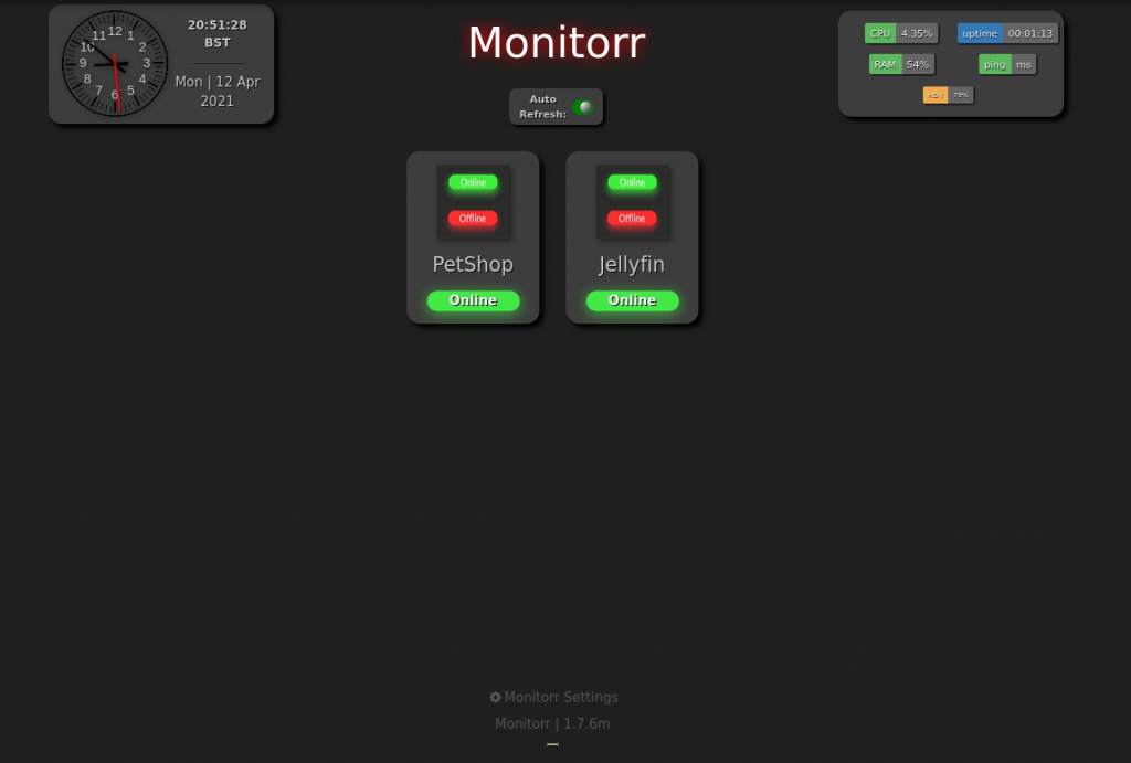 Screenshot showing the homepage for monitorr.robyns-petshop.thm