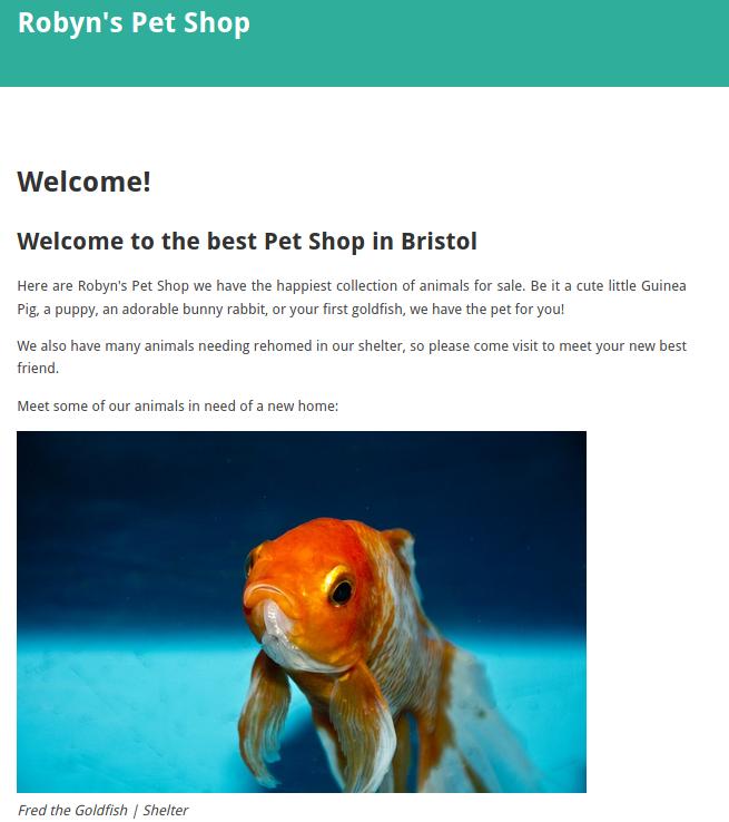 Robyn's Petshop Homepage