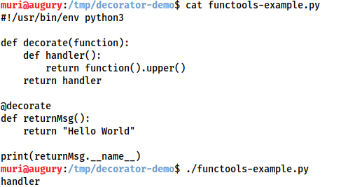 Demonstration that the decorator overwrites the correct name for returnMsg() (which is returnMsg) with the name of the inner function (handler)
