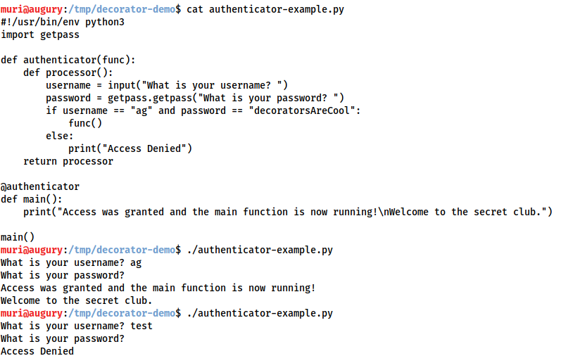 Demonstration that the authenticator program works as described